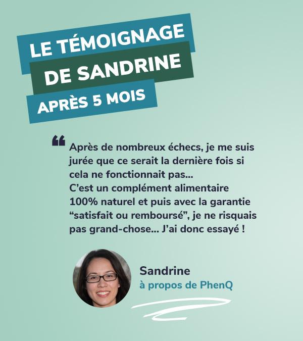 Témoignage de Sandrine à propos de PhenQ